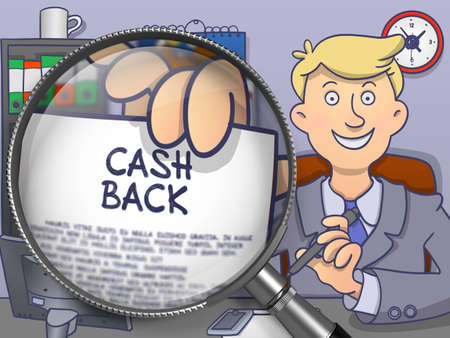 back view man: Business Man Sitting in Office and Showing Concept on Paper Cash Back. Closeup View through Lens. Multicolor Modern Line Illustration in Doodle Style.