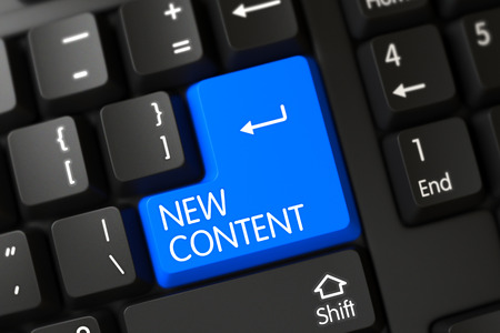 rewriting: Blue New Content Button on Keyboard. New Content Close Up of Black Keyboard on a Modern Laptop. Concepts of New Content, with a New Content on Blue Enter Key on Modernized Keyboard. 3D. Stock Photo