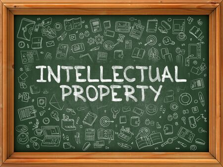 intellectual property: Intellectual Property - Hand Drawn on Chalkboard. Intellectual Property with Doodle Icons Around.