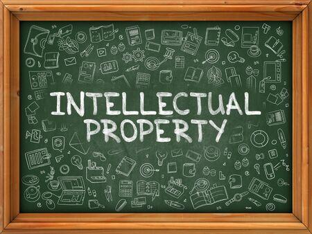 intellectual: Intellectual Property - Hand Drawn on Chalkboard. Intellectual Property with Doodle Icons Around.