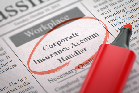 handler: Corporate Insurance Account Handler - Jobs in Newspaper, Circled with a Red Marker. Blurred Image. Selective focus. Job Search Concept. 3D Illustration. Stock Photo