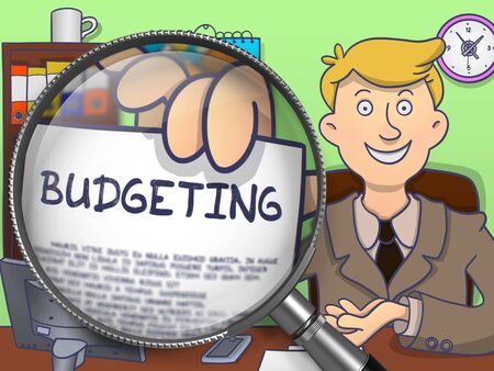 bankroll: Budgeting. Business Man Showing Concept on Paper through Lens. Multicolor Doodle Illustration. Stock Photo