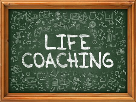 life coaching: Life Coaching - Handwritten Inscription by Chalk on Green Chalkboard with Doodle Icons Around. Modern Style with Doodle Design Icons. Life Coaching on Background of Green Chalkboard with Wood Border. Stock Photo