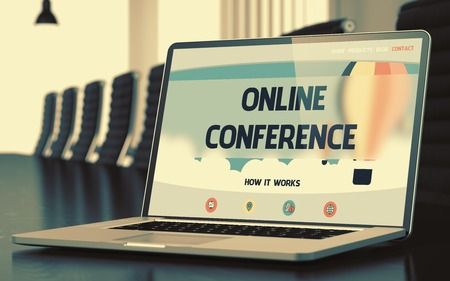 online conference: Online Conference. Closeup Landing Page on Mobile Computer Screen. Modern Meeting Hall Background. Blurred Image. Selective focus. 3D. Stock Photo