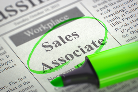 classifieds: A Newspaper Column in the Classifieds with the Jobs Section Vacancy of Sales Associate, Circled with a Green Marker. Blurred Image with Selective focus. Job Search Concept. 3D Rendering. Stock Photo