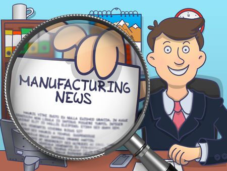 show plant: Officeman Showing Concept on Paper Manufacturing News. Closeup View through Magnifying Glass. Colored Doodle Illustration.
