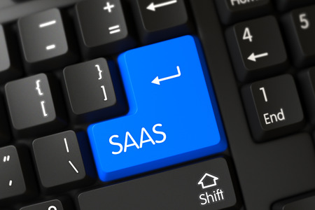 saas fee: A Keyboard with Blue Button - Saas. Concepts of Saas, with a Saas on Blue Enter Keypad on Modernized Keyboard. Modern Laptop Keyboard Key Labeled Saas. Blue Saas Button on Keyboard. 3D Illustration. Stock Photo