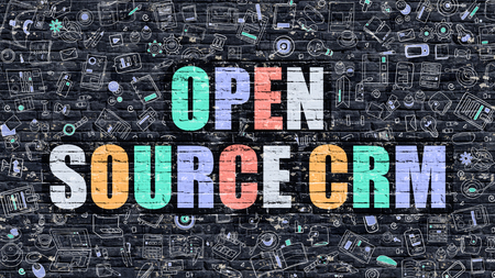 open source: Open Source CRM - Customer Relationship Management. Multicolor Inscription on Dark Wall with Doodle Design Icons. Open Source CRM Concept in Modern Style. Open Source CRM on Dark Brickwall Background.