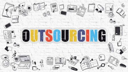contracting: Multicolor Concept - Outsourcing - on White Brick Wall with Doodle Icons Around. Modern Illustration with Doodle Design Style. Stock Photo