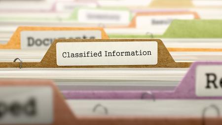 Concept d'information classifiée sur le registre de dossier dans l'index de carte multicolore. Vue rapprochée. Mise au point sélective Rendu 3D.