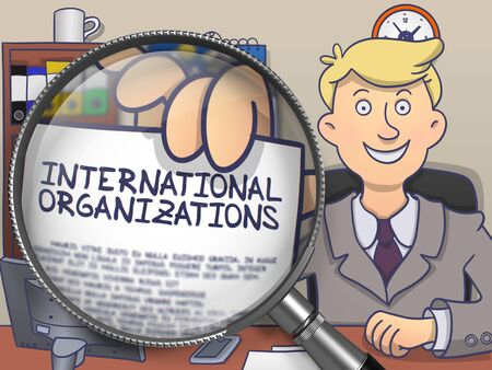 International Organizations on Paper in Business Man's Hand through Magnifying Glass to Illustrate a Business Concept. Colored Modern Line Illustration in Doodle Style.