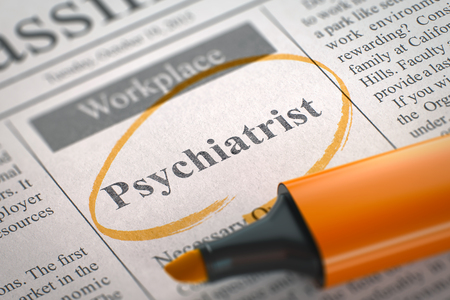Psychiatrist. Newspaper with the Small Ads of Job Search, Circled with a Orange Marker. Blurred Image with Selective focus. Concept of Recruitment. 3D Render.