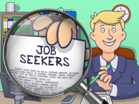 executive search: Job Seekers. Cheerful Officeman in Office Shows Paper with Text through Magnifying Glass. Colored Doodle Illustration. Stock Photo