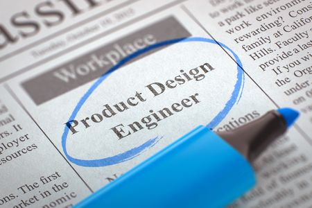 classifieds: Product Design Engineer - Advertisements and Classifieds Ads for Vacancy in Newspaper, Circled with a Blue Marker. Blurred Image. Selective focus. Job Seeking Concept. 3D Illustration. Stock Photo