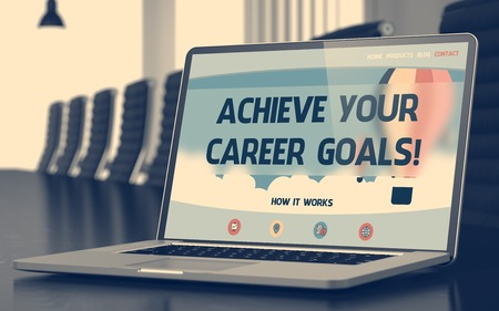 achieve: Modern Meeting Hall with Laptop Showing Landing Page with Text Achieve Your Career Goals. Closeup View. Blurred Image with Selective focus. 3D Rendering.