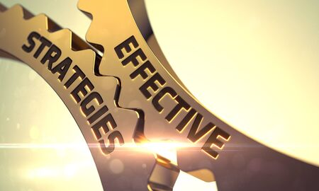 effective: Effective Strategies - Industrial Illustration with Glow Effect and Lens Flare. Golden Cog Gears with Effective Strategies Concept. Effective Strategies Golden Gears. 3D. Stock Photo