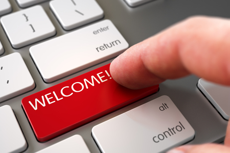 amabilidad: Hombre Dedo Presiona El Botón de bienvenida en el teclado del ordenador portátil. La mano del hombre joven en el botón rojo de bienvenida. El hombre del dedo que empuja el botón rojo de bienvenida en el teclado de ordenador. Ilustración 3D.