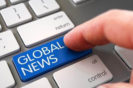 mondial: Finger Pushing Global News Key on Slim Aluminum Keyboard. Global News Concept - Modern Keyboard with Global News Key. Man Finger Pushing Global News Blue Key on Metallic Keyboard. 3D Illustration.
