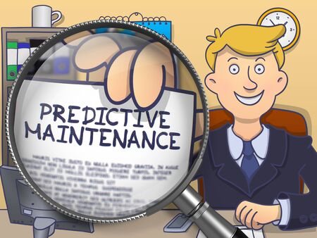 malfunction: Predictive Maintenance on Paper in Businessmans Hand to Illustrate a Business Concept. Closeup View through Lens. Colored Doodle Illustration. Stock Photo