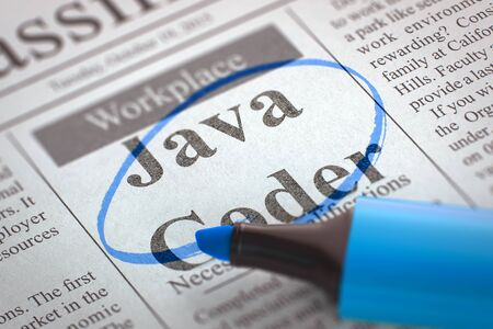 coder: Newspaper with Classified Advertisement of Hiring Java Coder. Blurred Image. Selective focus. Hiring Concept. 3D Illustration.
