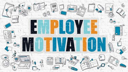 inducement: Employee Motivation - Multicolor Concept with Doodle Icons Around on White Brick Wall Background. Modern Illustration with Elements of Doodle Design Style. Stock Photo