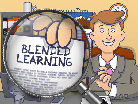 erudition: Blended Learning through Magnifier. Business Man Showing a Text on Paper. Closeup View. Colored Modern Line Illustration in Doodle Style.