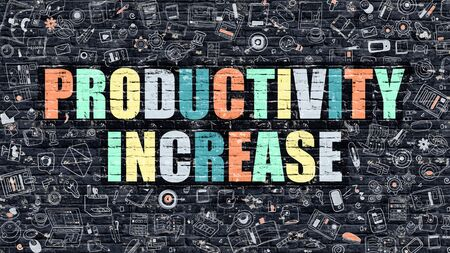 modification: Productivity Increase - Multicolor Concept on Dark Brick Wall Background with Doodle Icons Around. Illustration with Elements of Doodle Style. Productivity Increase on Dark Wall. Stock Photo