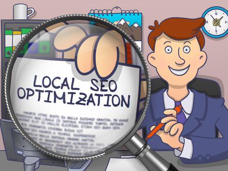 Lokale SEO-Optimierung . Geschäftsmann zeigt Papier mit der Aufschrift über hellblauem Hintergrund . Moderne Linie Illustration im Doodle-Stil
