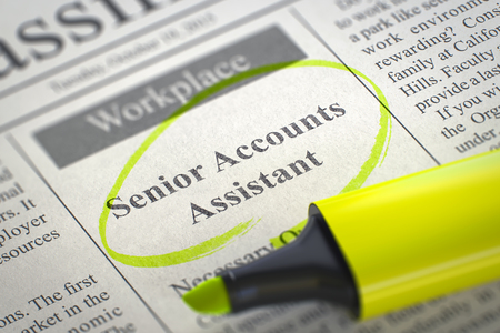 classifieds: A Newspaper Column in the Classifieds with the Jobs of Senior Accounts Assistant, Circled with a Yellow Marker. Blurred Image with Selective focus. Hiring Concept. 3D Rendering.