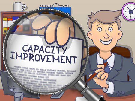 Businessman in Suit Holds Out Paper with Capacity Improvement Concept through Magnifier. Closeup View. Colored Modern Line Illustration in Doodle Style. Stock Photo