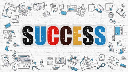 attainment: Success. Multicolor Inscription on White Brick Wall with Doodle Icons Around. Success Concept. Modern Style Illustration with Doodle Design Icons. Success on White Brickwall Background. Stock Photo