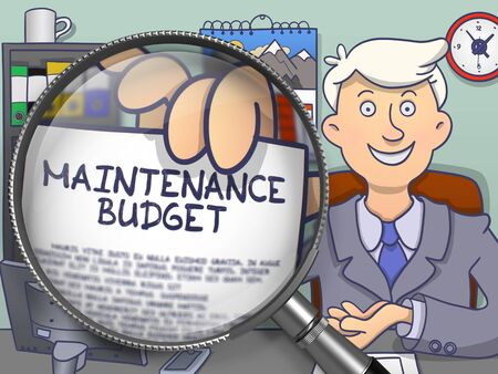 unplanned: Maintenance Budget on Paper in Businessmans Hand through Lens to Illustrate a Business Concept. Colored Doodle Style Illustration. Stock Photo