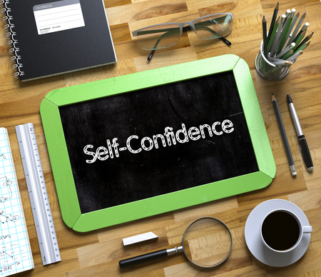 self assurance: Self-Confidence - Green Small Chalkboard with Hand Drawn Text and Stationery on Office Desk. Top View. Self-Confidence on Small Chalkboard. 3d Rendering. Stock Photo