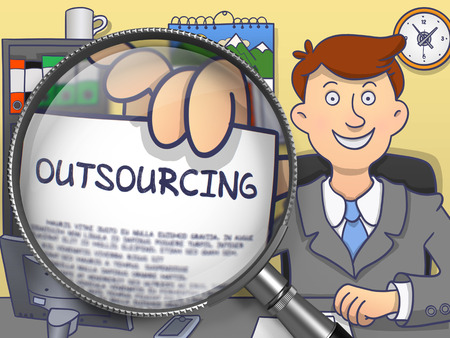 contracting: Outsourcing on Paper in Business Mans Hand through Magnifying Glass to Illustrate a Business Concept. Colored Modern Line Illustration in Doodle Style.