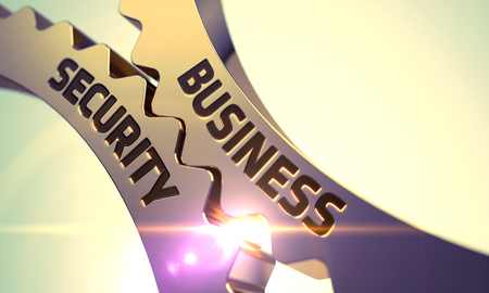 stocktaking: Business Security on Mechanism of Golden Gears with Glow Effect. Business Security - Illustration with Glowing Light Effect. Business Security - Concept. 3D Render.