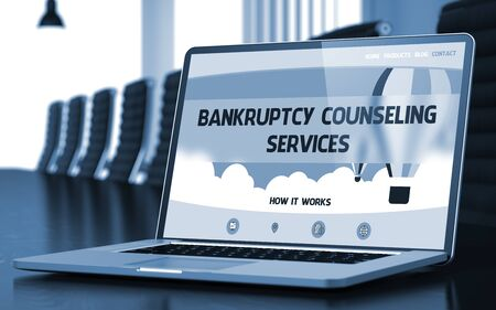 debt collection: Bankruptcy Counseling Services Concept. Closeup of Landing Page on Mobile Computer Display in Modern Meeting Room. Toned Image. Blurred Background. 3D Rendering.