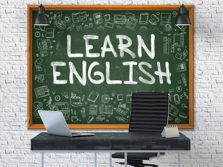 learn english: Hand Drawn Learn English on Green Chalkboard. Modern Office Interior. White Brick Wall Background. Business Concept with Doodle Style Elements. 3D.
