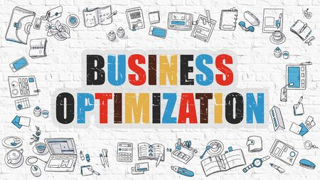 modernization: Multicolor Concept - Business Optimization - on White Brick Wall with Doodle Icons Around. Modern Illustration with Doodle Design Style.