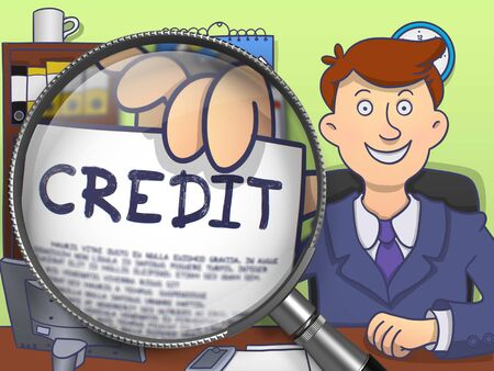 borrowing money: Credit through Lens. Business Man Sitting in Office and Holding Concept on Paper. Colored Doodle Illustration.