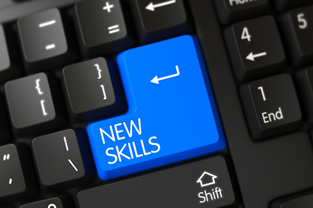 learning new skills: Concepts of New Skills, with a New Skills on Blue Enter Button on Modernized Keyboard. Modern Keyboard with Hot Key for New Skills. Blue New Skills Keypad on Keyboard. 3D.