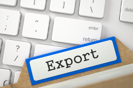 card file: Export. Blue Card File Concept on Background of Modern Keyboard. Archive Concept. Blue Index Card with Export Overlies White PC Keypad. Archive Concept. Closeup View. Blurred Image. 3D Rendering.