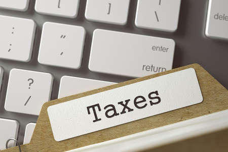 card file: Taxes Concept. Word on Folder Register of Card Index. File Card Concept on Background of White PC Keyboard. Closeup View. Blurred Toned Image. 3D Rendering.