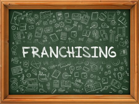 franchising: Franchising Concept. Line Style Illustration. Franchising Handwritten on Green Chalkboard with Doodle Icons Around. Doodle Design Style of  Franchising. Stock Photo