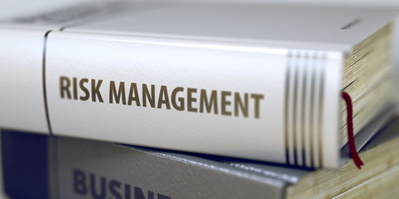competitividad: Risk Management - Leather-bound Book in the Stack. Closeup. Business - Book Title. Risk Management. Risk Management Concept on Book Title. Toned Image. 3D Rendering.