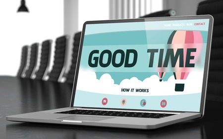 good time: Good Time - Landing Page with Inscription on Mobile Computer Screen on Background of Comfortable Meeting Hall in Modern Office. Closeup View. Toned Image. Blurred Background. 3D Render.