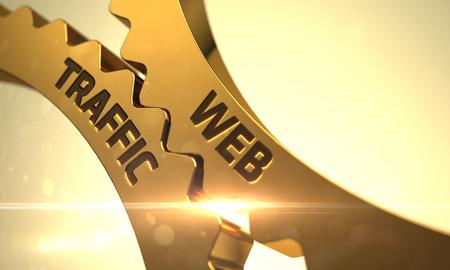 web traffic: Web Traffic - Concept. Web Traffic on Mechanism of Golden Gears. Web Traffic - Technical Design. Golden Metallic Cog Gears with Web Traffic Concept. 3D.