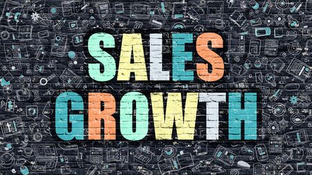 sales growth: Sales Growth - Multicolor Concept on Dark Brick Wall Background with Doodle Icons Around. Modern Illustration with Elements of Doodle Style. Sales Growth on Dark Wall.