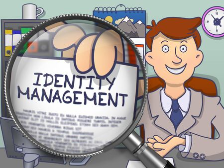 identity management: Identity Management. Man in Office Showing through Magnifying Glass Concept on Paper. Colored Doodle Illustration.