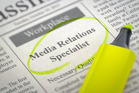 Newspaper with Jobs Media Relations Specialist. Blurred Image. Selective focus. Job Search Concept. 3D.