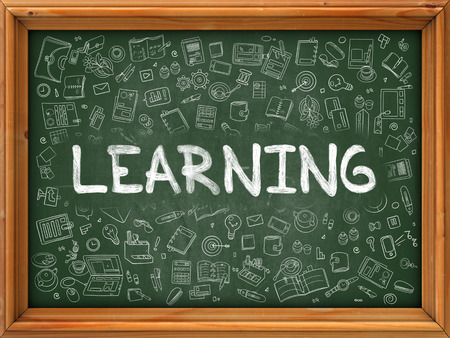 erudition: Learning Concept. Line Style Illustration. Learning Handwritten on Green Chalkboard with Doodle Icons Around. Doodle Design Style of Learning. Stock Photo